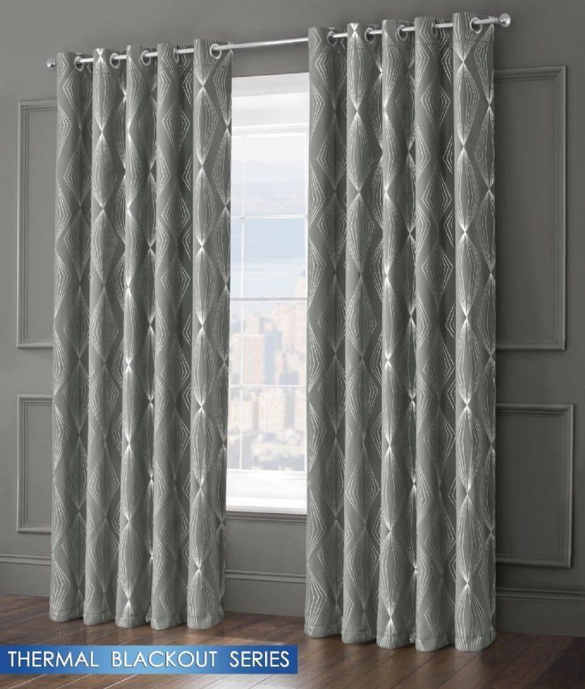 GEOMETRIC AZTEC LIVINGROOM BEDROOM THERMAL BLACKOUT RING TOP EYELET CURTAINS GREY